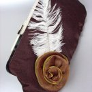 Chic Brown Satin Flower Bouquet Plume Feather Clutch Evening Purse Bag