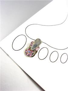 ADORABLE Pink Crystals FLIP FLOP Silver Invisible Illusion PETITE Toe Ring