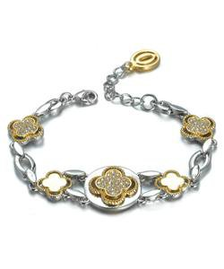 NEW Designer Inspired Silver Gold Clover Clovers CZ Crystals Links Bracelet