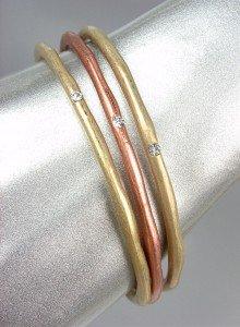 CLASSIC Antique Gold Copper Satin Metal CZ Crystals 3 PC Oval Bangle Bracelets