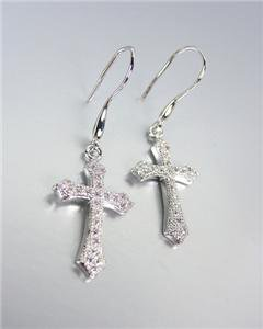 CLASSIC 18kt White Gold Plated Micro Pave CZ Crystals Cross Petite Earrings