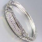 Designer Style Balinese Silver Pave CZ Crystals Weave Bangle Bracelet