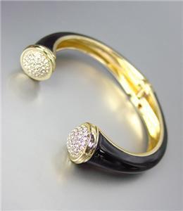 ELEGANT Gold Metal Black Lacquer Enamel Pave CZ Crystals Hinged Cuff Bracelet