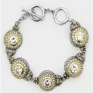 GORGEOUS Designer Silver Gold BALINESE CZ Crystal Links Toggle Bracelet