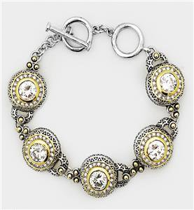 GORGEOUS Designer Silver Gold BALINESE CZ Crystal Links Toggle Bracelet