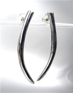 SIMPLY CHIC Basketball Wives Style Silver Metal Curved TUSK Post Earrings
