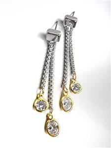 GORGEOUS Silver Box Cable Chain Gold Clear Topaz Crystals Dangle Earrings