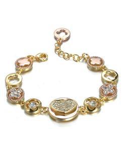 Designer Style Gold Rose Copper Heart Clover Clovers CZ Crystals Links Bracelet