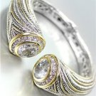 STUNNING Chunky Clear Topaz Crystals Tips Silver Cable Gold Hinged Cuff Bracelet