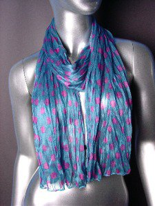 Silky Lightweight MuranoTeal Blue Fuchsia Pink Polka Dots Crinkled Gauze Scarf