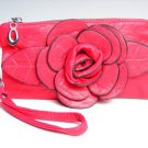 Chic Fuchsia Pink Flower Clutch Bag Purse