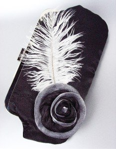 Chic Black Satin Flower Bouquet Plume Feather Clutch Evening Purse Bag