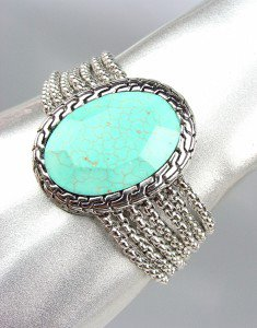 Designer Style Chunky Turquoise Stone Silver Cable Box Chains Magnetic Bracelet