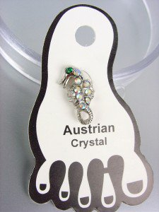 ADORABLE Iridescent Austrian Crystal SEA HORSE Invisible PETITE Toe Ring