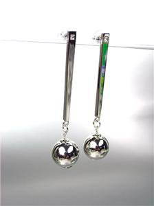 CHIC & UNIQUE Lightweight Silver Metal Ball CZ Crystal Long Dangle Post Earrings