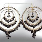 STUNNING Black Onyx Crystal Beads Gold Chandelier Dangle Peruvian Earrings 40BK