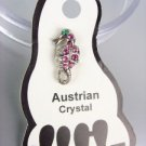 ADORABLE Pink Austrian Crystal SEA HORSE Invisible PETITE Toe Ring