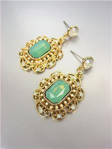 GORGEOUS Downton Abbey Style Blue Aventurine Gold White Opal Crystals Earrings