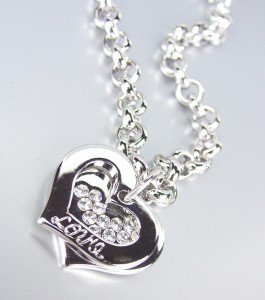 Designer Style Silver Hearts LOVE CZ Crystals Charms Bracelet