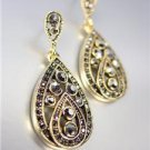VICTORIAN 18kt Gold Plated Marcasite Crystals Chandelier Dangle Post Earrings