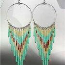 Turquoise Bronze Beads Pearls Bohemian Boho Gypsy Peruvian Chandelier Earrings