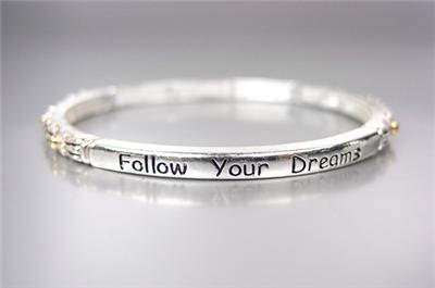 INSPIRATIONAL Thin Silver Filigree Gold Dots FOLLOW YOUR DREAMS Stretch Bracelet