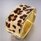 EXOTIC Rectangle Gold Metal Faux Leopard Fur Hinged Bangle Bracelet