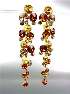 STUNNING Brown Topaz Citrine Czech Crystals WATERFALL Dangle Earrings