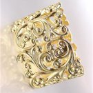 GORGEOUS Brighton Bay Gold Filigree Texture Oval Hinged Bangle Bracelet