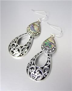 CLASSIC Brighton Bay Silver Black Filigree Mother Pearl Shell Dangle Earrings