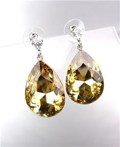 GLITZY SPARKLE Brown Topaz Tear Drop Crystal Bridal Queen Pageant Post Earrings