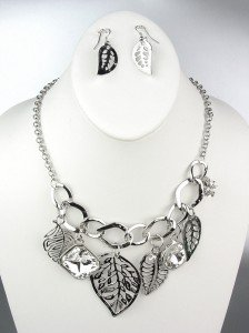 NATURAL Style Silver Metal Leaves Leaf CZ Crystals Charms Necklace Earrings Set