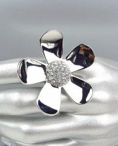 CHIC Clear Pave CZ Crystals Silver Flower Floral Fashion Ring