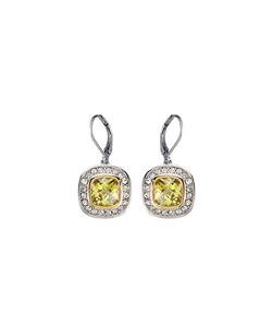CLASSIC 18kt White Gold EP Peridot Green CZ Crystal Petite Dangle Earrings