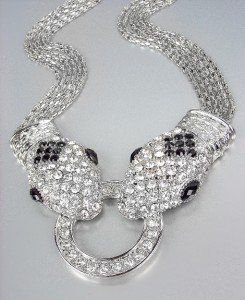 EXQUISITE Urban Anthropologie Silver Pave CZ Crystals Snake Mesh Chains Necklace