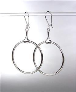 CHIC Designer Inspired Silver Horsebit Ring Dangle Earrings
