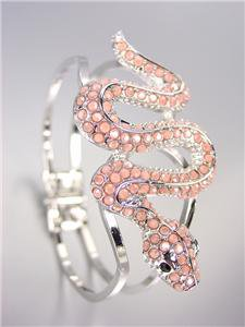 EXOTIC CHIC Designer Light Coral Crystals Snake Silver Hinged Bangle Bracelet