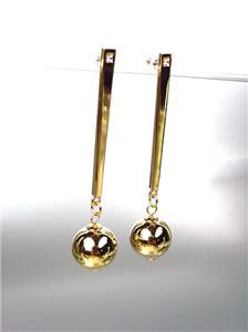 CHIC & UNIQUE Lightweight Gold Metal Ball CZ Crystal Long Dangle Post Earrings