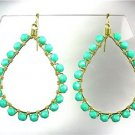 GORGEOUS Turquoise Crystals Peruvian Beads Gold Chandelier Dangle Earrings B124