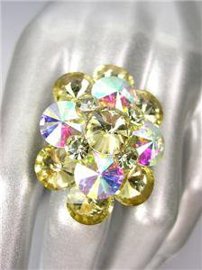 GLITZY Yellow Iridescent AB Czech Crystals Oval Cluster Large Cocktail Ring