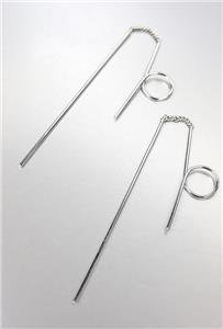 CHIC Lightweight Thin Silver Plated Metal Wire Loop Threader Dangle Earrings