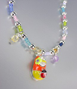 ADORABLE Multicolor Beads Ladybug Lady Bug Flower Shoe Charm Stretch Anklet