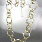 CLASSIC Mat Satin Brushed Gold Organic Metal Rings Necklace Earrings Set