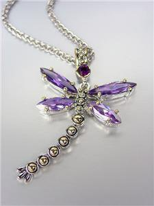 Designer Inspired Chunky Purple Amethyst CZ Crystals Balinese Dragonfly Necklace