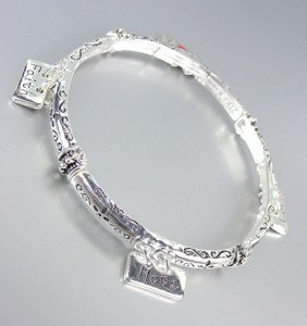 INSPIRATIONAL Thin Silver HOPE FAITH LOVE Charms Stackable Stretch Bracelet