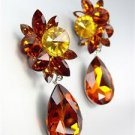 STUNNING Brown Topaz Czech Crystals Bridal Pageant Prom Queen CLIP Earrings