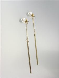 "CHIC Creme Pearl Stud Thin 4"" Long Gold Chain Bar Drop Dangle Earrings"