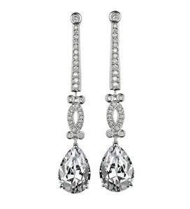 STUNNING 18kt White Gold Plated Tear Drop Pear CZ Crystal Dangle Earrings