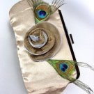 Silky Beige Satin Flower Peacock Feathers Clutch Evening Purse Bag
