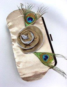 Silky Beige Satin Flower Peacock Feathers Clutch Evening Purse Bag